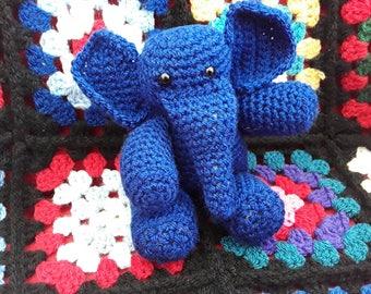 Crochet Elephant, Soft Toy, Plush, Amigurumi, Billy the Blue Elephant