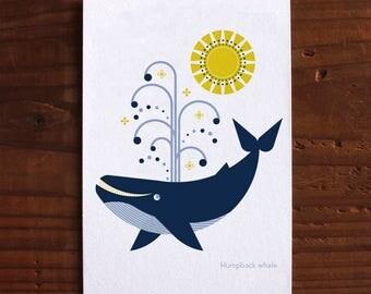 Humpback whale - Letterpress Postcard