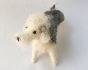 Needle Felted Grey Dandie Dinmont Dog