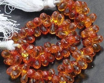 40 Pcs of Extremely Beautiful Padparadscha QUARTZ,  7-8mm Long, Amazing Rare Color,Finest Quality