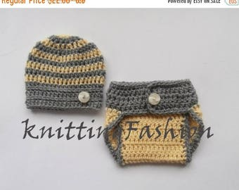 15 % SALE Newborn Baby Boy Coming Home Outfit _Baby Boy Crochet Outfit _Newborn Hospital Outfit_ Baby Boy Stripe Hat and Diaper Cover