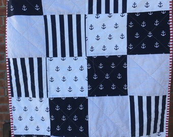 Handmade Nautical baby quilt