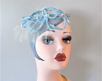 Vintage 1950's Blue Fascinator Hat / Birdcage Veil White and Sky Blue Chic Head Piece Mini Hat