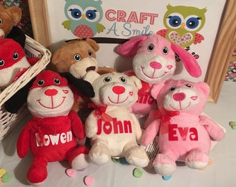Personalized Valentine Plush Puppy or Bear