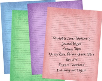 Printable Stationery, Lined Paper, 4 Printable Journal Pages, Letter Size, Instant Digital Download