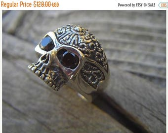 ON SALE Sugar skull ring in sterling silver with black cz's in the eyes