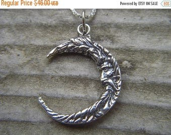ON SALE Old man in the moon in sterling silver
