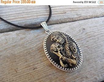 ON SALE Day of the dead women and child cameo necklace handmade in sterling silver