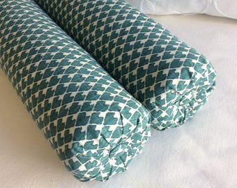 PAIR DIEGO bolster pillows 6x22 in Prussian blue