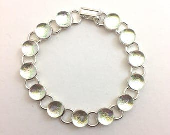 Morning Dew Drops Bracelet with Fused Dichroic Glass