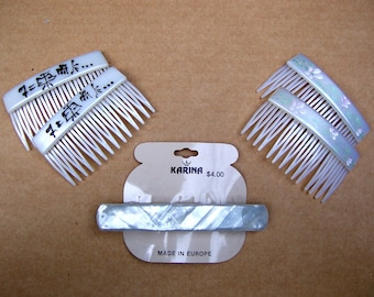 5 mother pair pearl effect hair accessories hair comb hair barrette Karina 1980s decorative comb hair jewelry (ABT)