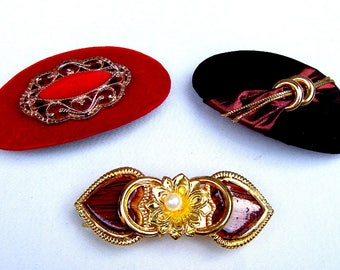 Three vintage 1980s hair barrettes hair slide hair clip hair ornament hair jewelry hair accessory (ZAD)