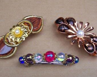 Three vintage 1980s hair barrettes hair slide hair clip hair ornament hair jewelry hair accessory (ZAj)