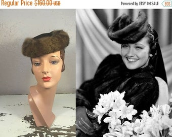 Anniversary Sale 35% Off Surrounded By Delights - Vintage 1940s WW2 Dark Chocolate Brown Military Style Toque Hat w/Fur Trim