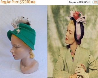 Anniversary Sale 35% Off High Hopes High Desires - Vintage 1940s Milgrim Kelly Green Felt High Bonnet Hat w/Sweeping Plumes