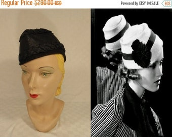 Anniversary Sale 35% Off She Was Caught in the Middle - Vintage 1930s Black Felt Calot Hat w/Woven Black Straw & Ribbon
