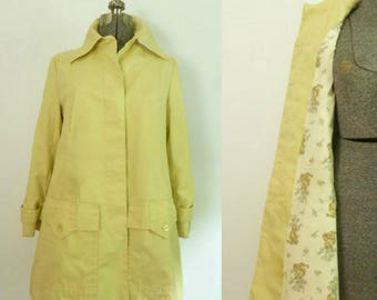 Mod Yellow Raincoat // All Weather Jacket Car Coat 1970s Fleet Street