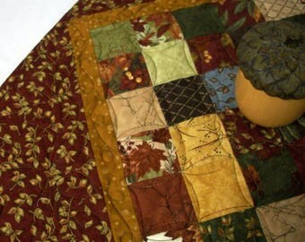 Fall Autumn Table Topper Dark Red Golden Leaves Quilted Handmade Quiltsy FREE U..S. Shipping