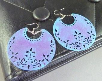 Beaming Sky. Large Bohemian Moon Earrings. purple and blue patina. shabby chic. statement earrings. chandelier earrings. boho jewelry.
