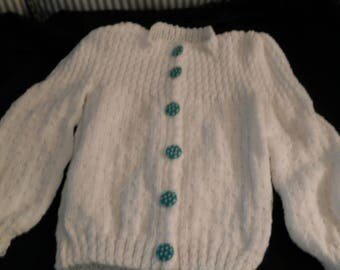 Hand Knit girl's white cardigan with aqua polka dot buttons