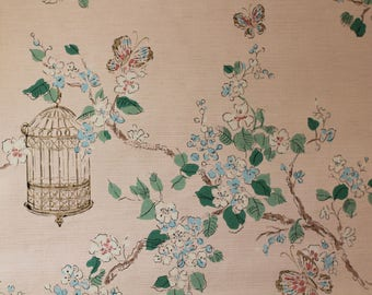 Vintage Wallpaper - Golden Bird Cages Pink and Blue Butterflies on Pink Background - 1 yard