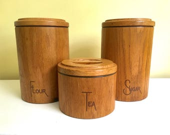 Vintage Wood Canister Set, Tall Storage Canisters, Flour Sugar Tea, Mid Century Mod, Kitchen Storage, Cornwall Industries, Soft Touch Oak