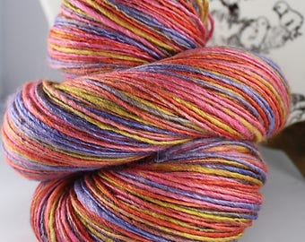 Handspun Yarn Gently Thick and Thin Fine Sport Single Wool and Soy silk  'Karaoke Playful'