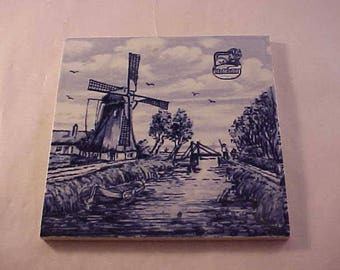 Delft Blue Pottery Decorative Ceramic Tile Made in Holland