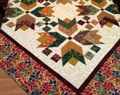 Multicolor Autumn Leaves quilt table topper, lap robe or wall hanging