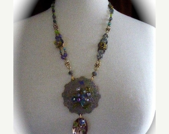 HUGE SALE Pansies and Filigree OOAK Assemblage Pendant Necklace Neo-Victorian Style, Vintage Pansy Clasp and Findings in Pastels with Crysta