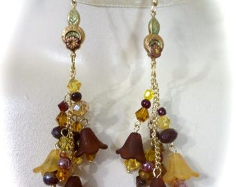 Clearance Sale Boho Chic Flower Dangle Earrings in Burgundy and Golden Yellow