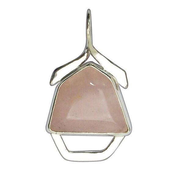 Rose Quartz and Sterling Silver Pendant, prqf2852