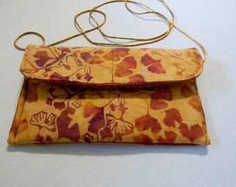 Copper Gingko Leaves Batik Hip Bag