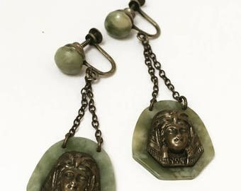Egyptian Revival Bakelite Earrings Rare Spinach Green 1940s Jewelry