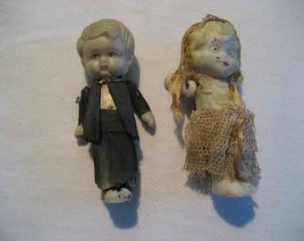 antique bisque Kewpie style bride and groom dolls