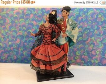 SALE 50% OFF Vintage Grain Flamenco Doll Pair Man & Woman Spanish Spain Red Dress Matador 70s