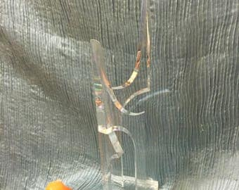 """LUCITE ABSTRACT SCULPTURE, Signed by Norman, 24"""" x 6"""" sq base, Lucite Art, Lucite, Modern Art, Signed Art, No Flaws at Modern Logic"""