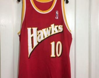 "1990's Atlanta Hawks Daron Oshay ""Mookie"" Blaylock #10 basketball team Champion brand jersey red tank size 48 XL, 24x29 NBA made in USA"