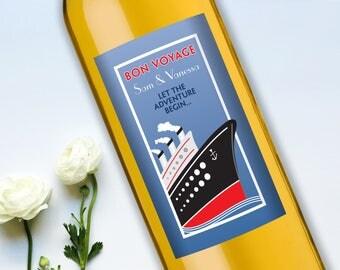 Customized Wine Bottle Labels • Bon Voyage • Wedding Gift • Personalized Label