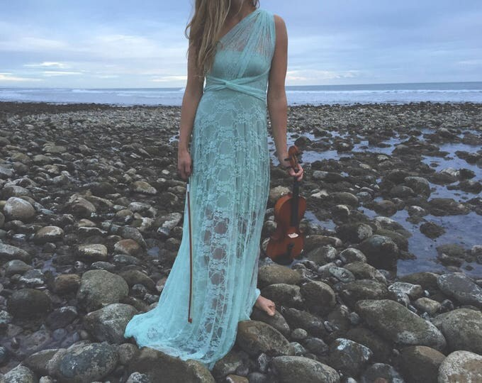 """Ready Made Standard 50""""L Mint Bohemian Full Lace with short slip Octopus Infinity Wrap Dress~ Seafoam Lace Straps with Song of Sagebrush"""