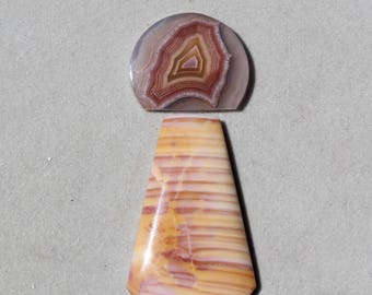 Laguna agate and Jasper cabochon Set,  pendant or ring cabochons in pink, orange and yellow, natural and rare