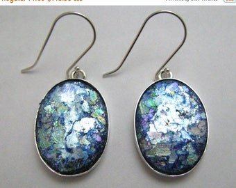 Summer Sale Beautiful Ancient Roman Glass 925 Silver  Hand Made Earrings
