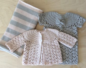 Newborn Knitted Baby Girl Gift Set, Baby Blanket, Baby Cardigan Sweater, Knit Baby Dress, Shower Gift, Pink Taupe Wool Warm and Woolly Etsy