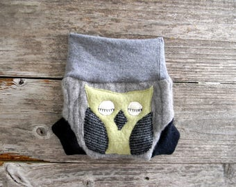 Upcycled CASHMERE /Wool Soaker Cover Diaper Cover With Added Doubler Gray/ Black With Owl Applique NEWBORN 0-3M Kidsgogreen