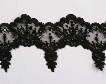 Beaded lace black with beads and sequins  for bridal,altered art or couture and more 5 yards