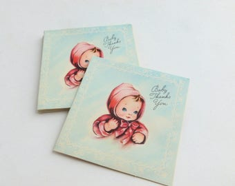 New Baby Girl Gift Thank You Notes Lot of 10 Unused Mid Century Greeting Cards