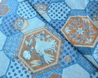 Luther Travis Designer Home Decorator Fabric Screen Print in Blues and Oranges Birds and Hexagon Tiles Print ONE Yard