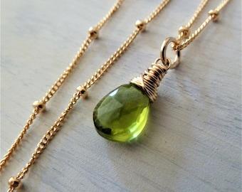 Peridot necklace. Layering gemstone necklace. Minimalist. August birthday. Peridot jewelry. Apple Green Peridot. Birthstone necklace. Gift