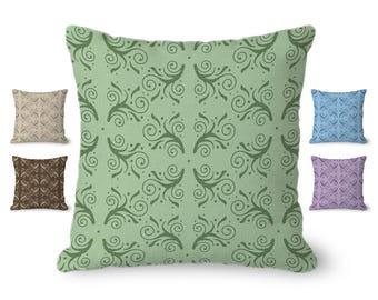Green Pillow Cover, decorative pillow, flourish pattern, throw pillow with zipper, modern decor, 14x14, 16x16, 18 x18, 20x20