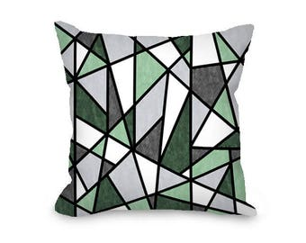 Green and gray pillow cover, geometric pillow, modern throw pillow cover, abstract pillow, decorative pillow
